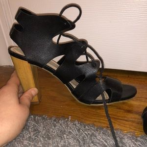 Black lace up strappy heels, size 8.5